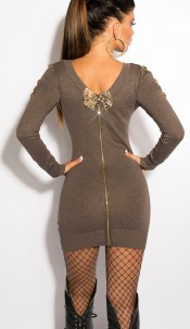 Sexy KouCla knit-dress with bows and zip Cappuccino