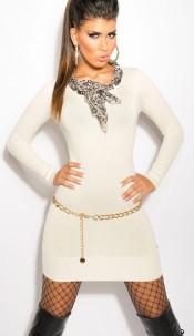 Sexy KouCla knit-dress with Leo-scarf White
