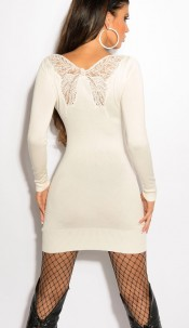 Sexy KouCla knitdress with butterfly-embroidery White