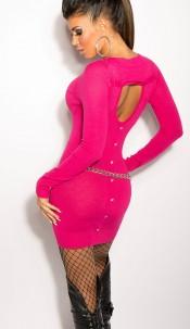 Sexy KouCla fineknit-dress with buttons on back Fuchsia
