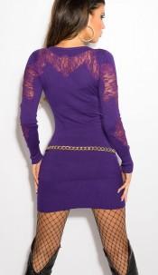 Sexy KouCla fineknit-minidres with embroidery Purple