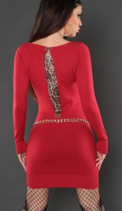 Sexy KouCla knitted minidress with leoprint Red