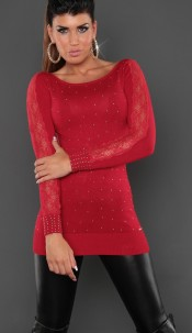 Sexy KouCla longsweater with buttons Red