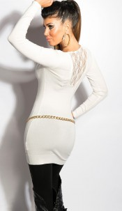 Sexy KouCla v-cut-sweater with lace White