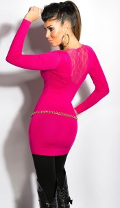 Sexy KouCla v-cut-sweater with lace Fuchsia