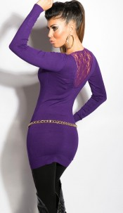 Sexy KouCla v-cut-sweater with lace Purple