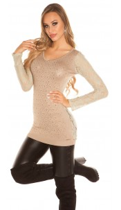 Sexy KouCla long jumper with lace and rhinestones Beige