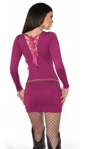 Sexy KouCla knitdress to tie on back Violet