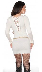 Sexy gebreide jurk open rug wit