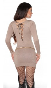 Sexy KouCla knitdress to tie on back Beige