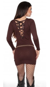 Sexy KouCla knitdress to tie on back Brown