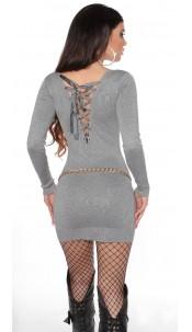 Sexy gebreide jurk open rug grijs