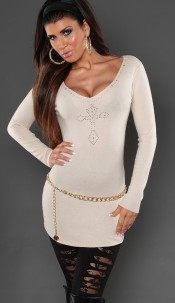 Sexy KouCla longsweater with studs and embroidery Beige