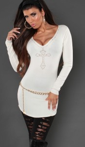 Sexy KouCla longsweater with studs and embroidery White