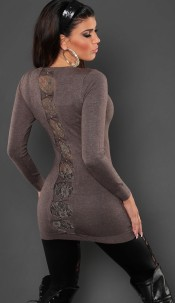 Sexy KouCla longsweater with lace and bows Cappuccino