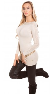Sexy KouCla sweater with studs and lace Beige