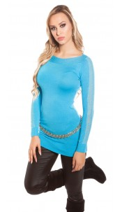 Sexy KouCla sweater with studs and lace Turquoise