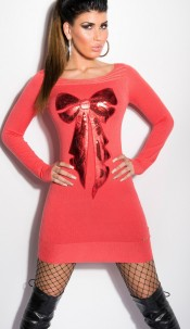Sexy KouCla fineknit-minidress with sequin-bow Coral