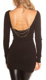 Sexy KouCla knit-minidress with chains Black