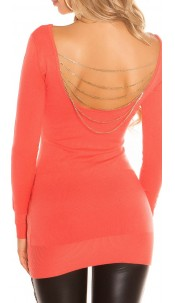 Sexy KouCla knit-minidress with chains Coral