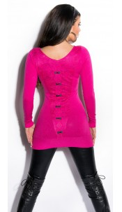 Sexy KouCla Longsweater with lace and bows Fuchsia