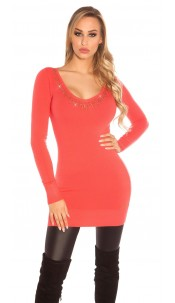 Sexy fineknit minidress with rhinestones Coral