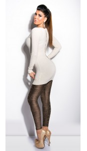 Sexy KouCla longsweater with lace and bows Beige