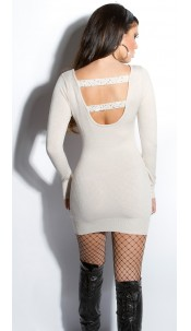 Sexy KouCla fineknit-minidress backfree Beige