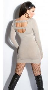 Sexy KouCla fineknit-minidress backfree Taupe