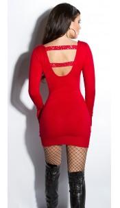 Sexy KouCla fineknit-minidress backfree Red