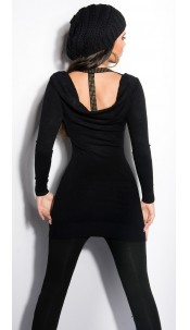Sexy KouCla longsweater with studs and cut-outs Black