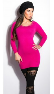 Sexy KouCla longsweater with studs and cut-outs Fuchsia