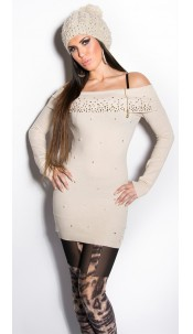 Sexy KouCla longsweater with pearls and rhinestone Beige