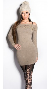 Sexy KouCla longsweater with pearls and rhinestone Taupe