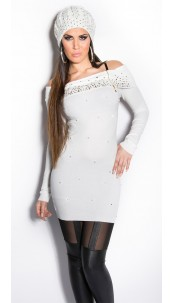 Sexy KouCla longsweater with pearls and rhinestone White