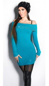 Sexy KouCla longsweater with pearls and rhinestone Sapphire