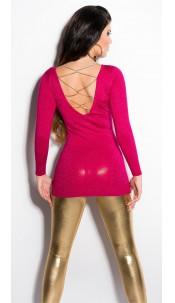 Sexy KouCla longsweater with glitter-effect Fuchsia