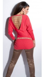 Sexy KouCla longsweater backfree with chains Coral