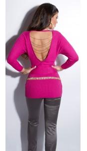 Sexy KouCla longsweater backfree with chains Fuchsia