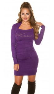 Sexy KouCla longsweater 2in1 with rhinestones Purple