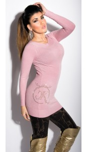 Sexy KouCla longsweater with rhinestones and studs Antiquepink