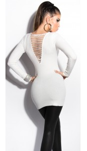 Sexy KouCla longsweater with pearls White