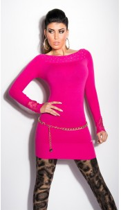 Sexy KouCla longsweater with lace on arms Fuchsia