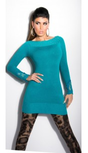 Sexy KouCla longsweater with lace on arms Sapphire