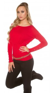 Sexy KouCla sweater with buttons and bows Red