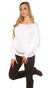 Sexy KouCla sweater with buttons and bows White