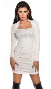 Sexy KouCla ruffled knit mini dress & rhinestones White