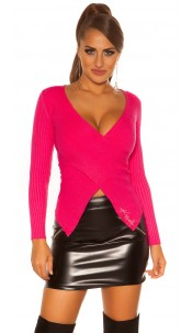 Sexy KouCla sweater in Wrap look Fuchsia