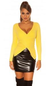 Sexy KouCla sweater in Wrap look Yellow