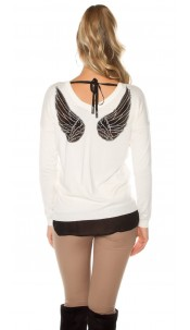 Trendy Koucla pullover with angel wings White